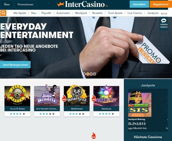 Intercasino mit 10 gratis Spins