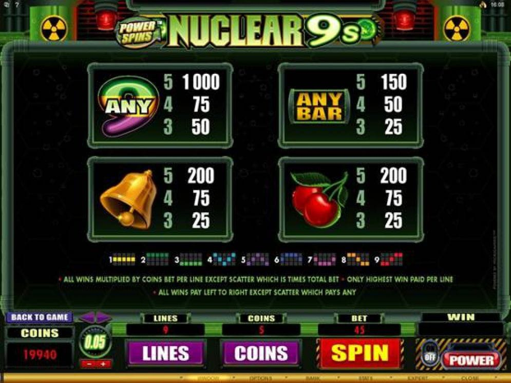 Power Spins Nuclear 9s Casino Spiel