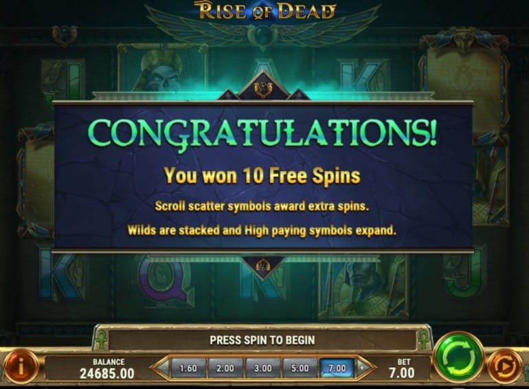 Book of Dead 2: Rise of Dead 10 Free Spins