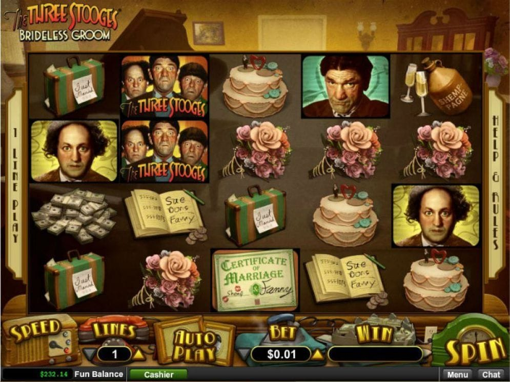 The Three Stooges Brideless Groom Video Slot