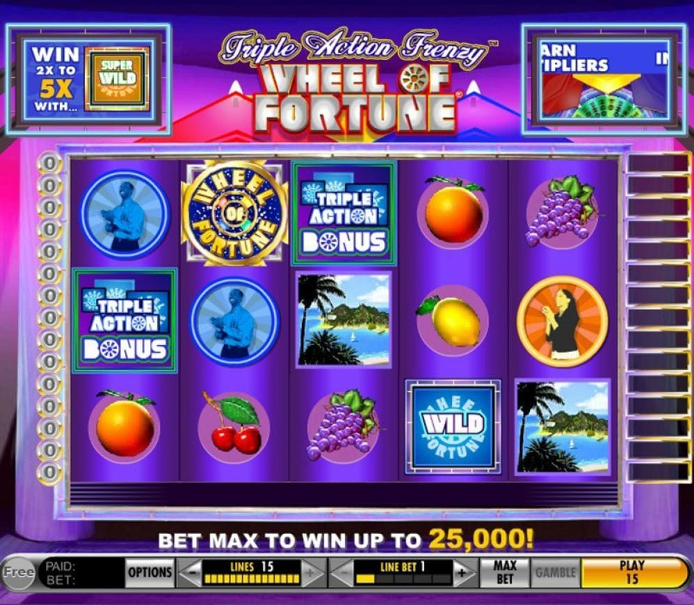 Triple Action Frenzy Wheel Of Fortune online Video Slot