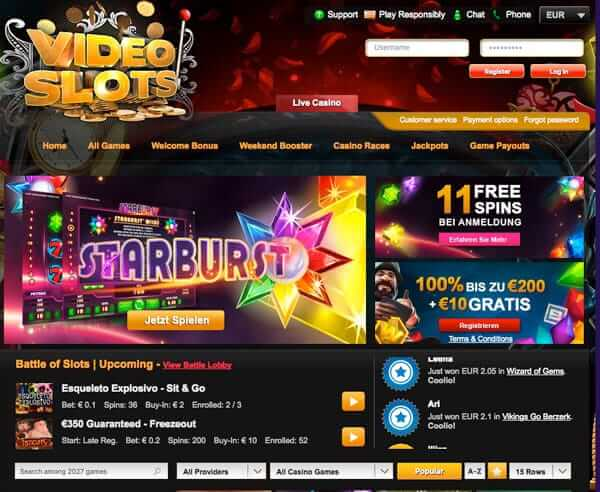 VideoSlots Casino – innovative online Casino mit über 1500 Video Slots